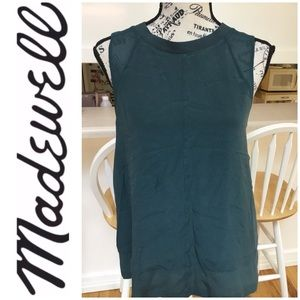 Madewell Silk Sleeveless Top with Zipper in Back